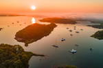 Aerial View of Sunrise and Fog Bank over Hadley Harbor, Bull Island, and Nonamesset Island, Elizabeth Islands, Town of Gosnold, MA