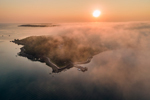Aerial View of Sun Rising through Fog over Nonamesset Island and Buzzards Bay, Elizabeth Islands, Town of Gosnold, MA