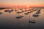 Aerial View of Sunrise over Boats in Cuttyhunk Pond, Cuttyhunk Island, Elizabeth Islands, Town of Gosnold, MA