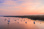 Aerial View of Sunrise over Boats in Lake Tashmoo, Vineyard Haven, Martha's Vineyard, Tisbury, MA