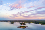 Aerial View of Plato, Gardner, and Beach Islands at Sunrise, Point Judith Pond, Narragansett and South Kingstown, RI