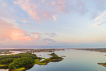 Aerial View of Point Judith Pond at Sunrise, from Ram and Jonathan Islands Looking South to Point Judith, Narragansett, RI