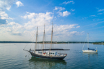 Three-masted Schooner at Mooring in Red Brook Harbor, Cape Cod, Cataumet, Town of Bourne, MA