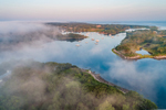Aerial View of Early Morning Fog at First Light Drifting over Hadley Harbor, Elizabeth Islands, Town of Gosnold, MA