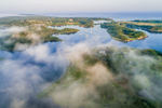 Aerial View of Fog in Early Morning Light Drifting over Hadley Harbor and Elizabeth Islands, Town of Gosnold, MA