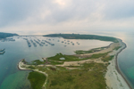 Aerial View of Boats in Cuttyhunk Pond in Early Evening under Cloudy Skies, Cuttyhunk Island, Elizabeth Islands, Town of Gosnold, MA