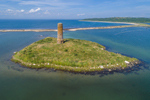 Aerial View of Gosnold Monument on Gosnold Island, Off Cuttyhunk Island, Elizabeth Islands, Town of Gosnold, MA