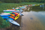 Colorful Kayaks and Dinghies along Shoreline of Lake Tashmoo in Early Morning, Vineyard Haven, Martha's Vineyard, Tisbury, MA
