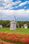 18th Century Higgins Farm Windmill, 1795 Harris-Black House, and 1867 Henry Hopkins Blacksmith Shop in Autumn, National Register of Historic Places, Drummer Boy Park, Cape Cod, Brewster, MA