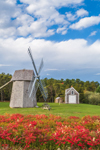 18th Century Higgins Farm Windmill and 1867 Henry Hopkins Blacksmith Shop in Autumn, National Register of Historic Places, Drummer Boy Park, Cape Cod, Brewster, MA