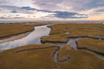 Tidal Creek and Salt Marshes at Sunset at Boardwalk Beach, Cape Cod, Sandwich, MA