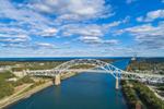 Aerial View of Sagamore Bridge over Cape Cod Canal, Cape Cod, Bourne, MA