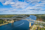 Aerial View of Bourne Bridge over Cape Cod Canal, Cape Cod, Bourne, MA