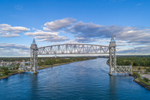 Aerial View of Cape Cod Canal Railroad Bridge over Cape Cod Canal, Cape Cod, Bourne, MA