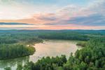 Aerial View of Sunrise over Lake Rohunta, New Salem, MA