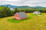 Red Barn with Green Mountains and Harriman Reservoir in Distance, Whitingham, VT