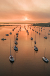 Sunrise over Boats in North Cove, Harbor of Refuge, Connecticut River, Old Saybrook, CT