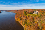 Aerial View of Gillette Castle and Connecticut River in Autumn, Gillette Castle State Park, Lyme and East Haddam, CT