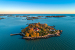 Aerial View of the Thimble Islands in Late Evening Light, Long Island Sound, Branford, CT