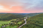 Mohawk Trail Scenic Byway and Deerfield River at Sunset, Pioneer Valley and Berkshire Mountains, Charlemont, MA