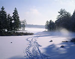 Ice Fisherman's Trail and Early Morning Ground Fog over Frozen Sportsman Pond