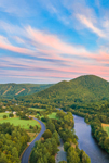 Deerfield River and Mohawk Trail Scenic Byway at Sunset, Pioneer Valley and Berkshire Mountains, Charlemont, MA