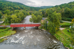 Aerial View of West Cornwall Covered Bridge Spanning Housatonic River, West Cornwall, CT