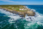 Aerial View of High Surf at Beavertail Lighthouse, Beavertail State Park, Jamestown, RI