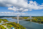 Aerial View of Penobscot Narrows Bridge and Observatory Spanning Penobscot River, Prospect, ME