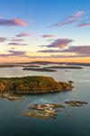 Aerial View of Archipelago off Stonington at Sunrise, Deer Isle, Stonington, ME