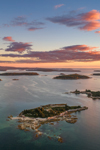 Aerial View of Archipelago off Stonington at Sunrise, Deer Isle, Stonington, ME