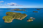 Aerial View of Archipelago off Stonington, Russ, Camp and Little Camp Islands in Foreground, Deer Isle, Stonington, ME