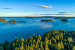 Early Evening Light Shines on Archipelago off Stonington, Russ Island in Foreground, Deer Isle, Stonington, ME