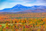Mount Katahdin and Brilliant Fall Foliage from Scenic Overlook at Ash Hill, Katahdin Woods and Waters Scenic Byway, Patten, ME