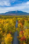 Aerial View of Brilliant Fall Foliage along Katahdin Woods and Waters Scenic Byway, Mount Katahdin in Background, Piscataquis County, T2R9 WELS, ME