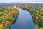 Aerial View of East Branch Penobscot River in Fall, Katahdin Woods and Waters Scenic Byway, Medway, ME