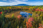 Aerial View of Wetlands, Pond, and Mount Katahdin in Fall, Katahdin Woods and Waters Scenic Byway, Millinocket, ME