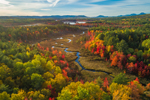 Aerial View of Pockwockamus Stream and Wetlands in Fall with Mountains in Background, near Baxter State Park, Katahdin Woods and Waters Scenic Byway, Piscataquis County, T2R9 WELS, ME