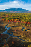 Aerial View of Pockwockamus Stream and Wetlands in Fall with Mount Katahdin in Background, near Baxter State Park, Katahdin Woods and Waters Scenic Byway, Piscataquis County, T2R9 WELS, ME