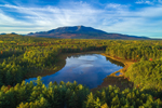 Aerial View of Sunday Pond with Mount Katahdin in Background in Fall, off Katahdin Woods and Waters Scenic Byway, Piscataquis County, T2R9 WELS, ME