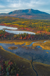 Aerial View of Compass Pond with Mount Katahdin in Background in Fall, off Katahdin Woods and Waters Scenic Byway, Piscataquis County, T2R9 WELS, ME