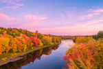 Aerial View of Sunrise over Brilliant Fall Foliage along East Branch Penobscot River, Katahdin Woods and Waters Scenic Byway, Medway, ME