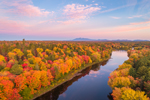 Aerial View of Sunrise over Brilliant Fall Foliage along East Branch Penobscot River with Mount Katahdin in Distance, Katahdin Woods and Waters Scenic Byway, Medway, ME