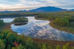 Aerial View of Pockawockamus Pond at Sunset in Fall with Mount Katahdin in Background, off Katahdin Woods and Waters Scenic Byway, Piscataquis County, T2R9 WELS, ME
