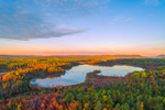 Aerial Veiw of Sunrise over Compass Pond in Fall, off Katahdin Woods and Waters Scenic Byway, Piscataquis County, T2R9 WELS, ME