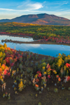 Aerial View of Early Morning Light Shining on Compass Pond and Mount Katahdin in Fall, off Katahdin Woods and Waters Scenic Byway, Piscataquis County, T2R9 WELS, ME