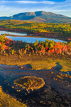 Aerial View of Early Morning Light Shining on Compass Pond, Pockawockamus Stream, and Mount Katahdin in Fall, off Katahdin Woods and Waters Scenic Byway, Piscataquis County, T2R9 WELS, ME