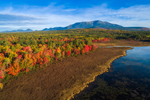 Aerial View of Compass Pond, Wetlands, and Mount Katahdin in Fall, View from the Golden Road, Piscataquis County, T2R9 WELS, ME