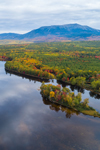 Aerial View of West Branch Penobscot River and Mount Katahdin in Fall, View from the Golden Road, Piscataquis County, T2R9 WELS, ME