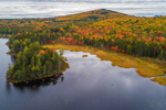 Aerial View of Lower East Ragged Pond and Ragged Mountain in Fall, Penobscot County, T4 Indian Purchase, ME